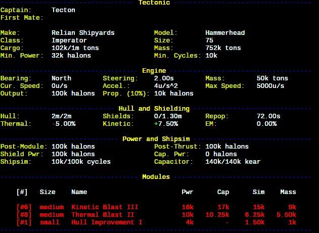 Sample ship status output